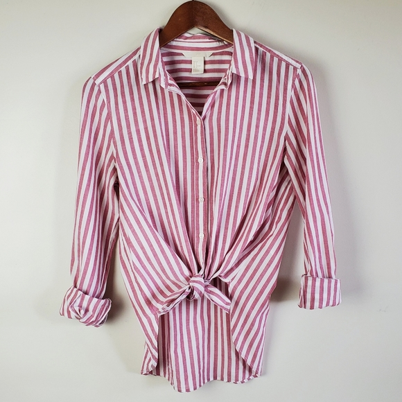 H&M striped button down shirt
